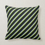 [ Thumbnail: Green, Tan, Lavender, Dark Slate Gray, and Black Throw Pillow ]