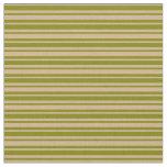 [ Thumbnail: Green & Tan Lined Pattern Fabric ]