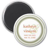 Green tan medallion ampersand circle save the date fridge magnets