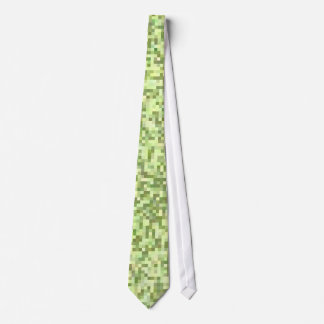 Green & Tan Pixels Neck Tie