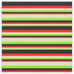 [ Thumbnail: Green, Tan, Red & Black Stripes Fabric ]