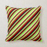 [ Thumbnail: Green, Tan, Red & Black Stripes Throw Pillow ]
