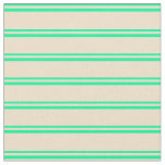 [ Thumbnail: Green & Tan Striped/Lined Pattern Fabric ]