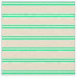 [ Thumbnail: Green & Tan Striped/Lined Pattern Fabric ]