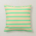[ Thumbnail: Green & Tan Striped/Lined Pattern Throw Pillow ]