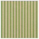 [ Thumbnail: Green & Tan Stripes/Lines Pattern Fabric ]