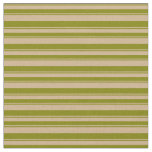 [ Thumbnail: Green & Tan Stripes/Lines Pattern Fabric ]