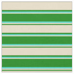 [ Thumbnail: Green, Tan & Turquoise Colored Lines Pattern Fabric ]