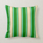 [ Thumbnail: Green, Tan & Turquoise Colored Lines Pattern Throw Pillow ]
