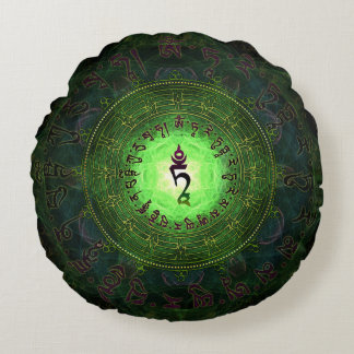 Green Tara Mantra- Protection from danger Round Pillow