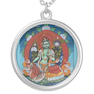 Green Tara Round Pendant Necklace
