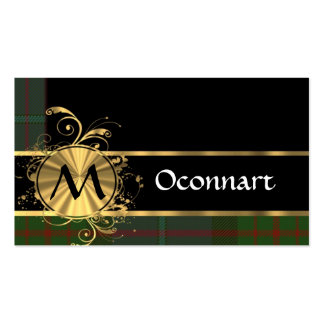 Green tartan and gold monogram business card template
