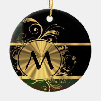 Green tartan and gold monogram Double-Sided ceramic round christmas ornament