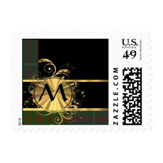 Green tartan and gold plaid monogram postage