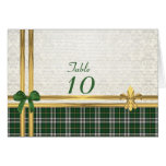 Green tartan & gold on white damask table number greeting card