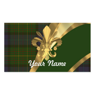 Green tartan & gold ribbon business card template