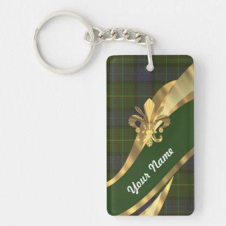 Green tartan & gold ribbon Double-Sided rectangular acrylic keychain