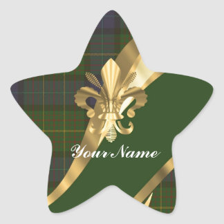 Green tartan & gold ribbon star sticker