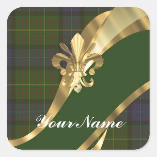 Green tartan & gold ribbon square sticker