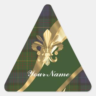 Green tartan & gold ribbon triangle sticker
