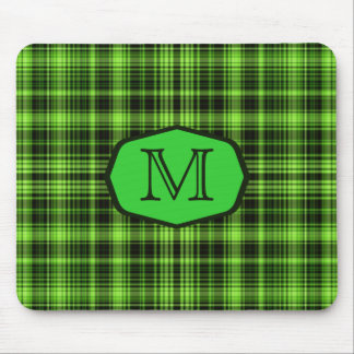 Green Tartan Marquee Monogrammed Mouse Pad