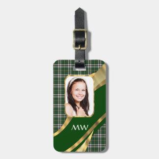 Green tartan photo background bag tag