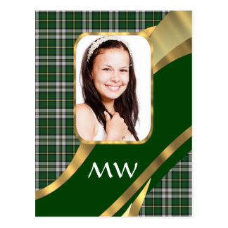Green tartan photo background postcard