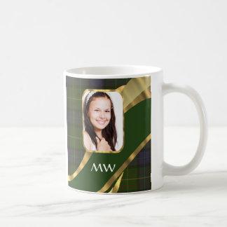 Green tartan photo template coffee mug