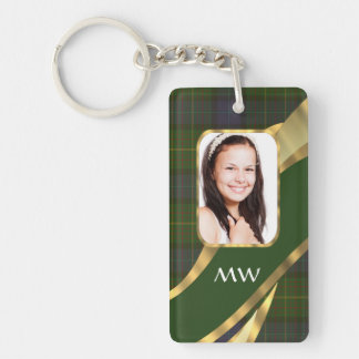 Green tartan photo template keychain