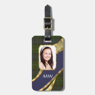 Green tartan photo template luggage tag