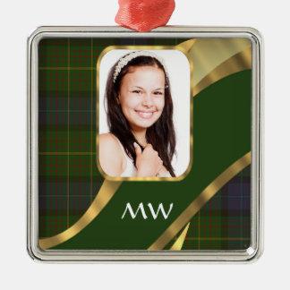 Green tartan photo template metal ornament