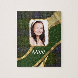 Green tartan photo template jigsaw puzzle