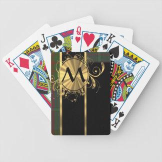 Green tartan plaid and gold monogram bicycle playing cards