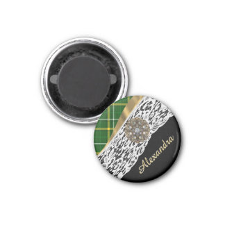 Green tartan plaid and white lace 1 inch round magnet