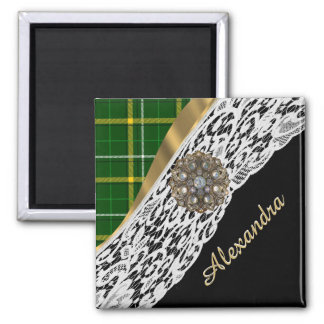 Green tartan plaid and white lace 2 inch square magnet