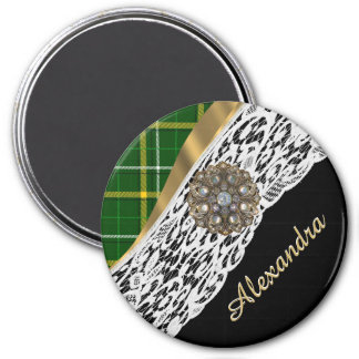 Green tartan plaid and white lace 3 inch round magnet