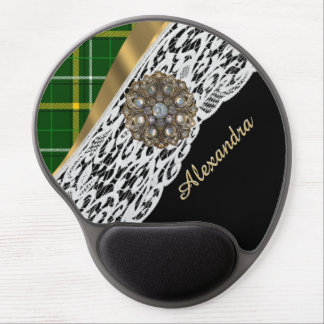 Green tartan plaid and white lace gel mouse pad