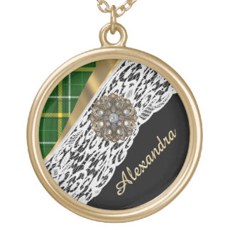 Green tartan plaid and white lace gold plated necklace