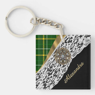 Green tartan plaid and white lace keychain