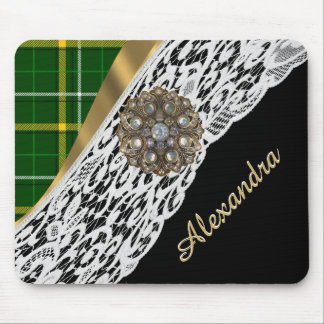 Green tartan plaid and white lace mouse pad