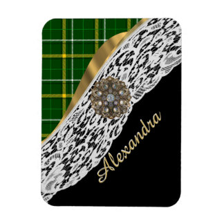 Green tartan plaid and white lace rectangular photo magnet
