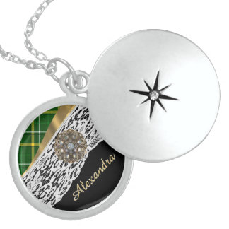 Green tartan plaid and white lace round locket necklace