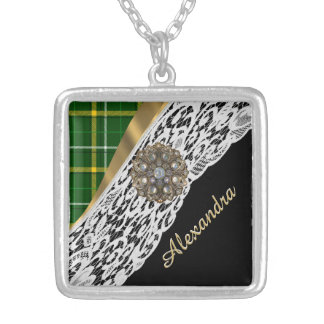 Green tartan plaid and white lace silver plated necklace