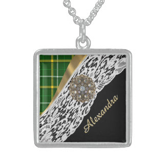 Green tartan plaid and white lace sterling silver necklace