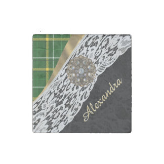 Green tartan plaid and white lace stone magnet