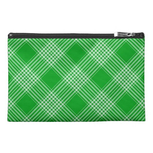 Green Tartan Plaid Travel Accessory Bag