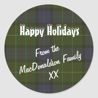 Green tartan plaid Christmas holidays Classic Round Sticker