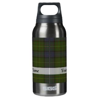 Green tartan plaid insulated water bottle