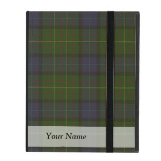 Green tartan plaid iPad folio case