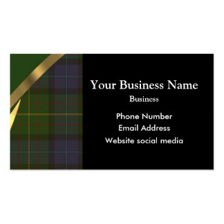 Green tartan plaid pattern business card template